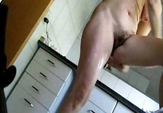 Mom caught fully nude in bath room by bad son - 42 sec