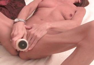 Very Skinny Granny Stretching Her Tight Pussy With A Dildo