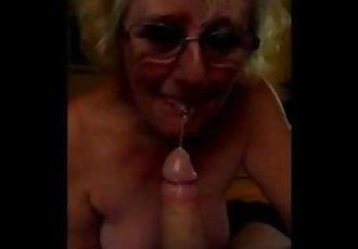 Dirty british granny sucks cock
