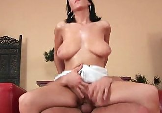 Soccer mom with big tits gets fucked on the couch