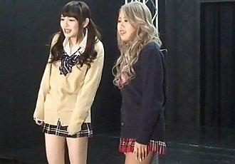 Japanese femdom Shuri Atomi and MIRANO makes slave cunnilingus - 3 min