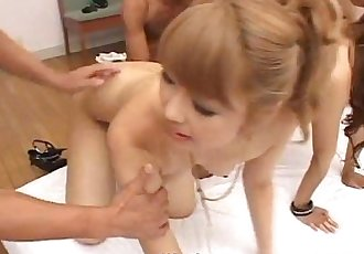Cute Asian babes in orgy - 8 min