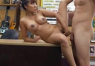 Pawnshop pervert staff paid Asian babe Tiffany Rain to get fucked