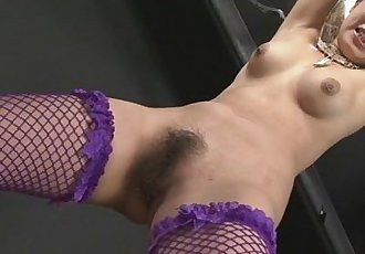 Kinky babe in fishnet stockings tied and fondled with sex toys - 8 min