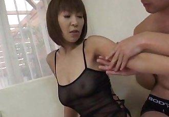 Jun Kusanagi Asian milf gets horny pussy masturbated in gangbang style - 10 min