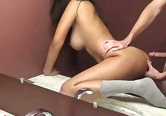 Submissive Asian girl fucked in public hotel bathroom