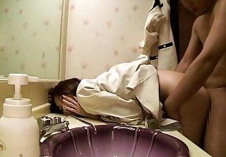 Hairy japanese teen fucked in the bathroom - 8 min HD