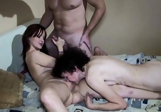 Threesome, old mature mom and young girl sex
