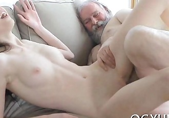 Young active beauty blows old dick