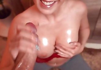 Sweet girl with big boobs jerks your cock on her knees - TheMagicMuffin