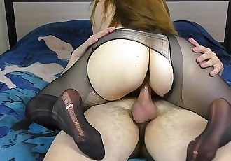 Teen Big Ass Pussyjob in Nylon Pantyhose Cum on Ass Amateur Sex