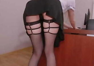 My first Day as a Secretary. I Seduced my Boss and Fucked him on the Table