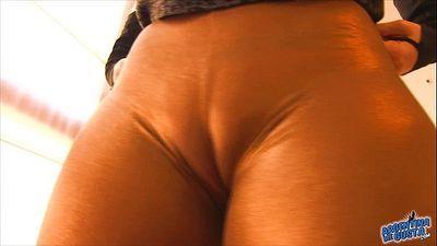 Round Ass Teen Wearing Ultra Tight Spandex. Cameltoe & Booty! - 1 min 5 sec HD
