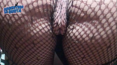 Fishnet Catsuit. Perfect Round Ass and Cameltoe - 1 min 5 sec