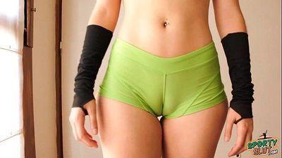 Bubble Butt Teen Working Out! Cameltoe, Big Ass, Perky Tits! - 1 min 29 sec HD