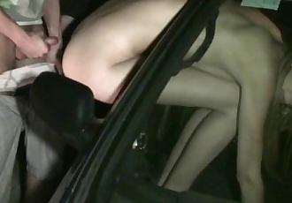 Kitty Jane PUBLIC gangbang by strangers through car window