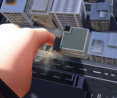 MMD Giantess playing with a city