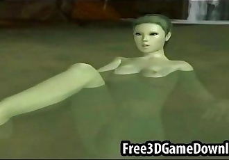 Sexy 3d cartoon elf with an all green and beautiful body - 2 min