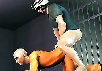 3D prisoner has a dick slapped on his face before some anal