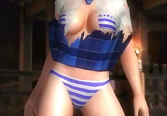 Dead or alive 5 sexy blonde MILF Tina in schoolgirl uniform windy upskirt !