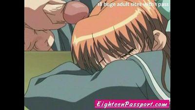 Anime schoolgirl and boys - 5 min