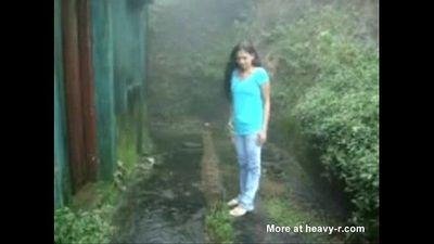 * Indian college friends enjoying sex in rain - 5 min