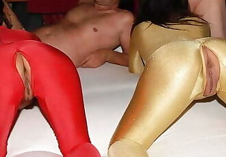 Spandex Catsuit Groupsex Party