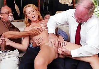 Blonde slut Raylin Ann gang bang with her clients