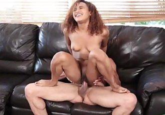 Luscious horny chick Yhivi fucking a hard massive dick