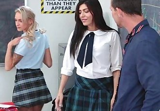 InnocentHighAngry School Girls 3some with TeacherHD