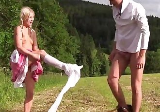 Pigtailed teen gets nailed outdoorsHD