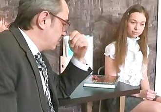 Sara looks so innocent when she walks into the teachers office