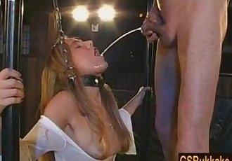 Amateur slut Kathy gets a group pissing