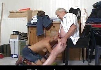 Summer job working student is fucking grandpa employer