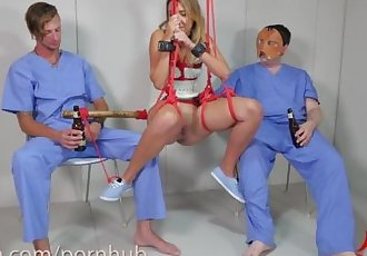 19 year old anal sex slave, Sophia Grace, gets rough treatment in bondage
