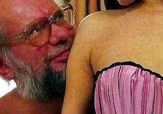 Old man enjoys Lyens crotchless panties