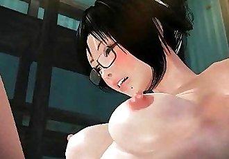 Anime girl sucks while is fingered - 2 min