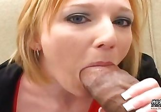 Cute red head sucks and fucks 2 huge monster dicks