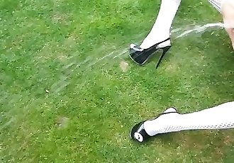 extra small tiny milf in catsuit extreme pee pissing outdoor very sexy pov
