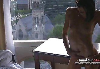 Skinny french Montreal porn star Hellizabeth flashing toned fit body