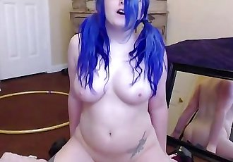 Giggles a lot busty Luna Lore with pigtails rides a toy