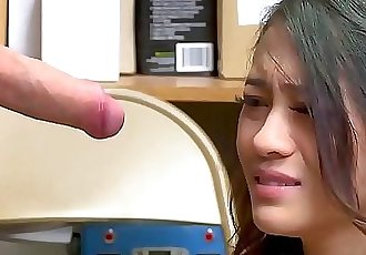 Amazing little Asian thief punished with cum in mouth 8 min HD+