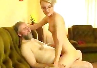 Old Man Shows Hot Young Blonde How Its Done