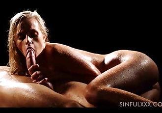 Sensual slow handjob and blowjob