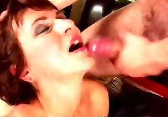 HORNY MATURE MILF SUCKS HIM HARD !!