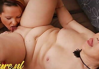 Horny Granny Gets Beautiful Stepdaughter with Petite Tits to Eat Ass
