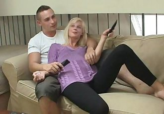 Blonde cutie swallows cock and takes it roughly