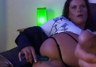 Horny young wife masturbating in front of her boss and get fucked