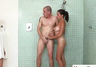 Busty cougar milf joins teens in the showerHD