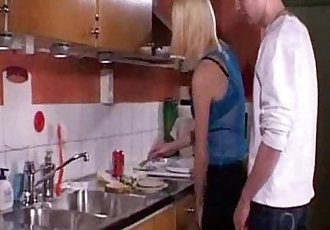 young blonde fucked in kitchen